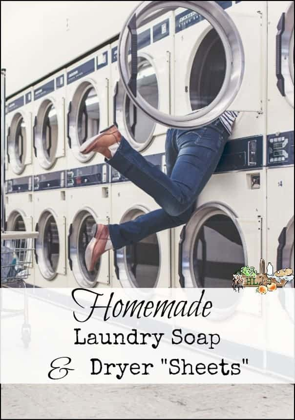 Homemade Laundry Soap and Dryer Sheets l Make your own, save money l Homestead Lady.com