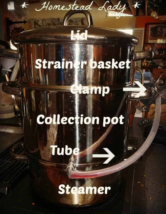 How to make your own fruit juice - www.homesteadlady.com - how to use a steam juicer - steam juicer parts