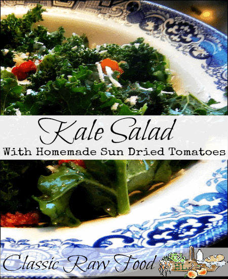 Tender Kale Salad with Homemade Sun Dried Tomatoes l A healthy, raw food addition to any holiday meal l Homestead Lady (.com)