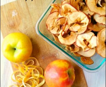 dried apple chips in a dish compared to fresh apples
