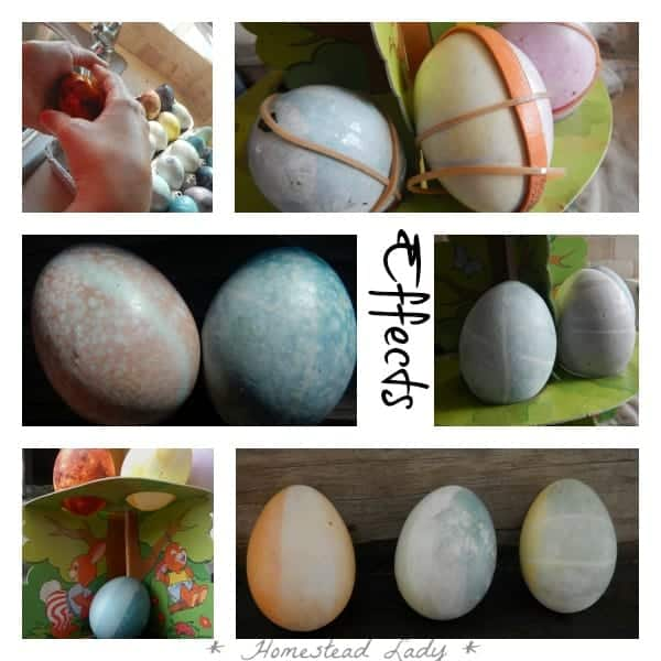 Easter Eggs - Natural Dye vs. Natural Dye - different effects for decorating - www.homesteadlady.com