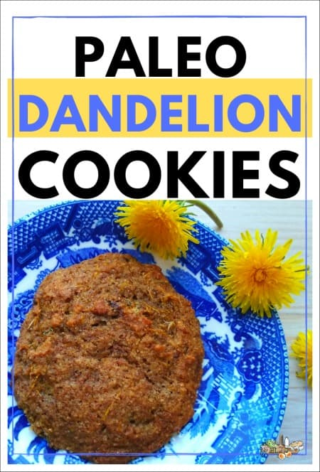 cookie on a blue plate with dandelions