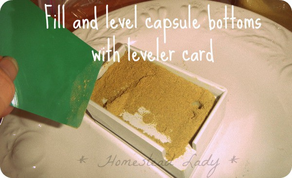 DIY Supplement Capsules - level out the herbs - www.homesteadlady.com