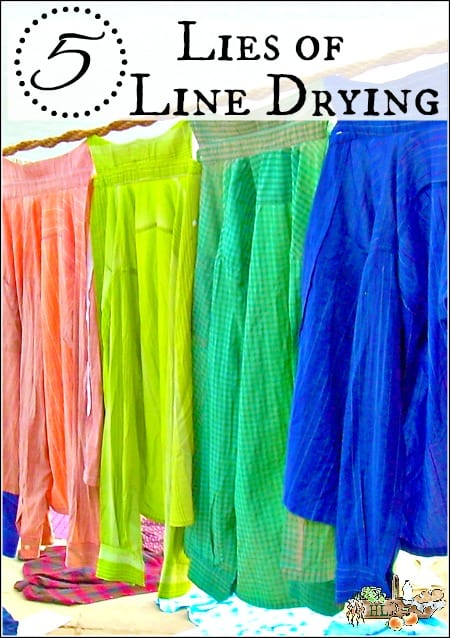 Five Line Drying Lies l Practical line drying tips and realities for busy families l Homestead Lady