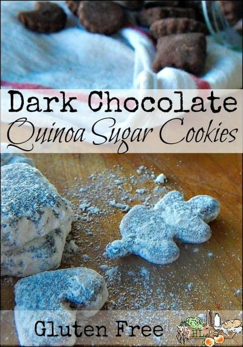 Gluten Free Foods: Dark Chocolate Quinoa Sugar Cookies l Full of real food ingredients and whole grains l Homestead Lady(.com)