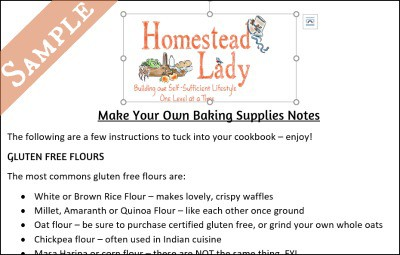 Make Your Own Baking Supplies Downloadable PDF Notes l Homestead Lady.com