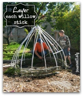 DIY Willow Playhouse l Layer each stick of willow l Homestead Lady (.com)
