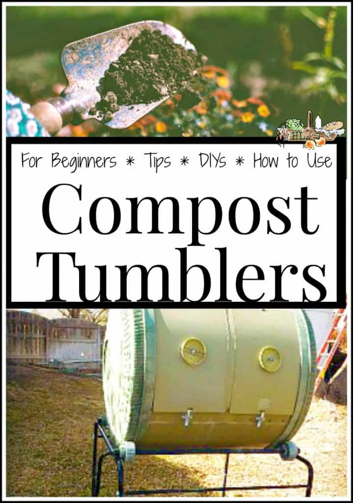 compost tumbler and dirt