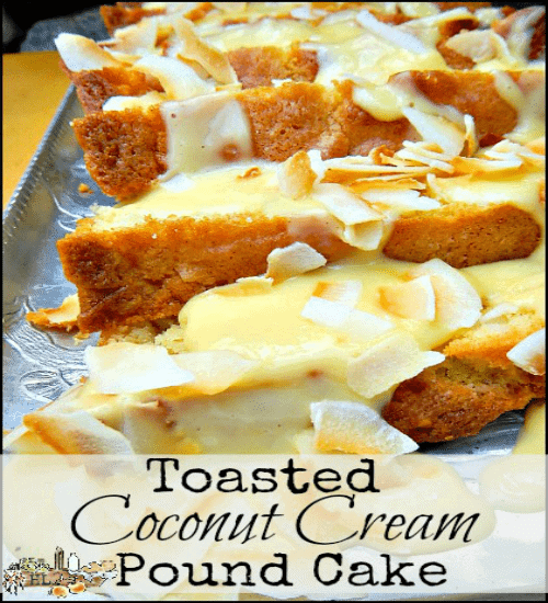 Toasted Coconut Cream Pound Cake l with coconut oil and other healther ingredients l Cake Stand Cookbook review l Homestead Lady FB