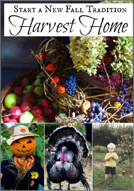 scarecrow, basket of fruit, turkey, small child with apple