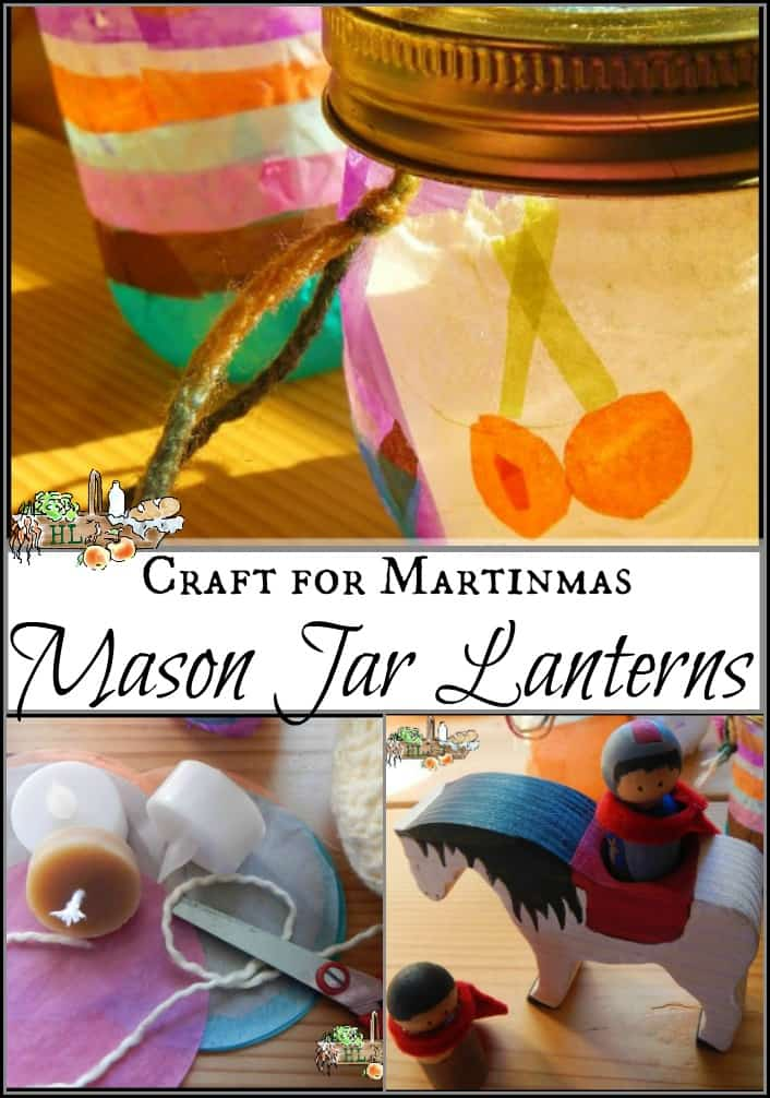 mason jar lantern and martin of tours doll
