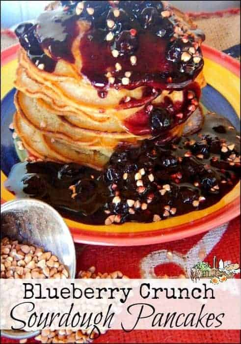 Nut Free Blueberry Crunch Sourdough Pancakes l Use buckwheat instead of nuts for a flavorful crunch in your naturally leavened pancakes l Homestead Lady (.com).jpg