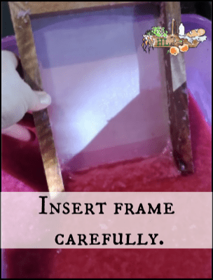 Homemade Paper l Insert the frame into the pulp at an angle l Homestead Lady.com