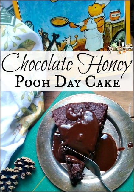 Chocolate Honey Pooh Day Cake l Celebrate author AA Milne's birthday with Pooh Day cake and crafts l Homestead Lady.com