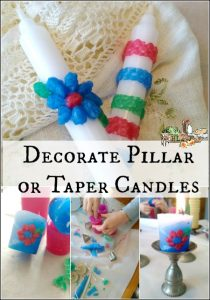 Decorate Candles Tapers or Pillars with Colored Bees Wax l DIY holiday gifts and decorations kids can make l Homestead Lady.co