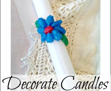 hand decorated white taper candle