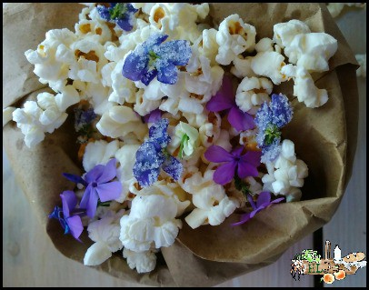 Spring Wildflower and Violet Popcorn Recipe l Homestead Lady.com