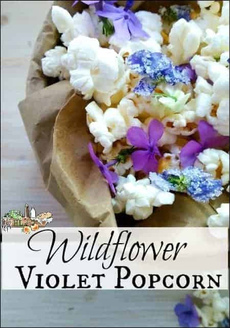 Spring Wildflower and Violet Popcorn l Use foraged violets and other wildflowers to garnish fresh popped popcorn l Homestead Lady.com
