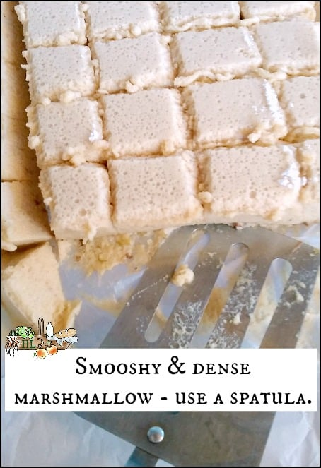 apple cider marshmallows cut with spatula