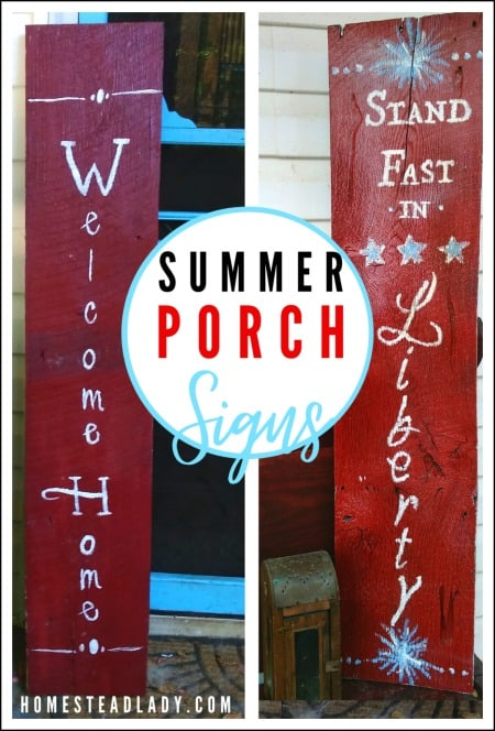 red, white, blue porch signs