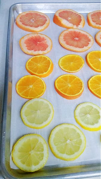 citrus slices on a sheet pan